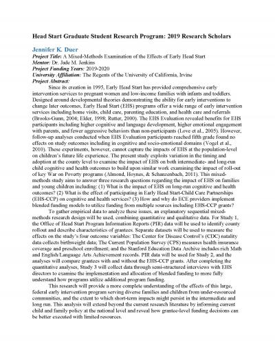 """First page of """"Head Start Graduate Student Research Program: 2019 Research Scholars."""""""