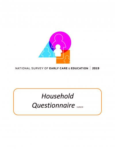 """Cover of """"2019 National Survey of Early Care and Education Household Questionnaire."""""""