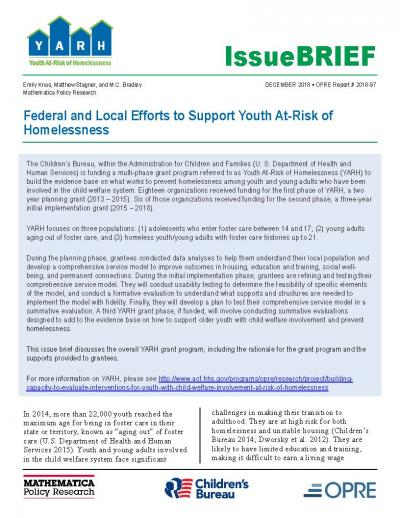Cover for Federal and Local Efforts to Support Youth At-Risk of Homelessness