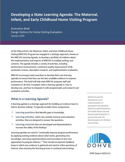 Cover to Developing a State Learning Agenda: The Maternal, Infant, and Early Childhood Home Visiting Program
