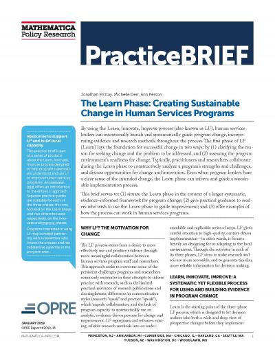 Cover to The Learn Phase: Creating Sustainable Change in Human Services Programs