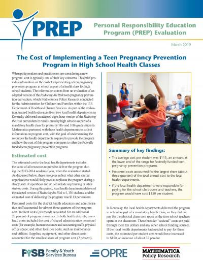 The Cost of Implementing a Teen Pregnancy Prevention Program in High School Health Classes Cover