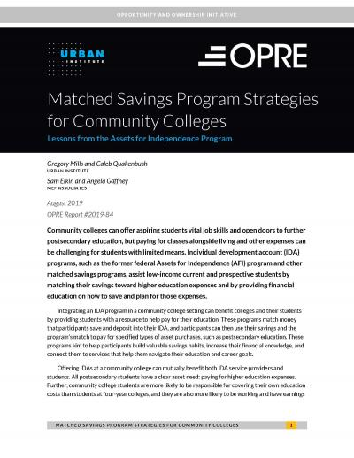 Matched Savings Program Strategies for Community Colleges Cover