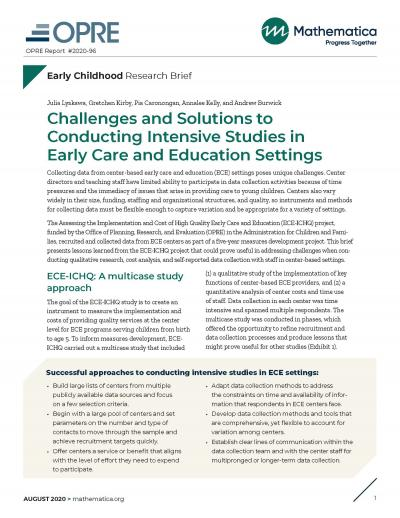 This is the cover of Challenges and Solutions to Conducting Intensive Studies in Early Care and Education Settings