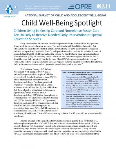 This is the cover Child Well-Being Spotlight: Children Living in Kinship Care and Nonrelative Foster Care Are Unlikely to Receive Needed Early Intervention or Special Education Services