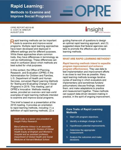 Cover of the Rapid Learning: Methods to Examine and Improve Social Programs brief include the logos for the Office of Planning, Research, and Evaluation, Insight Policy Research, and the text from the first page of the publication.
