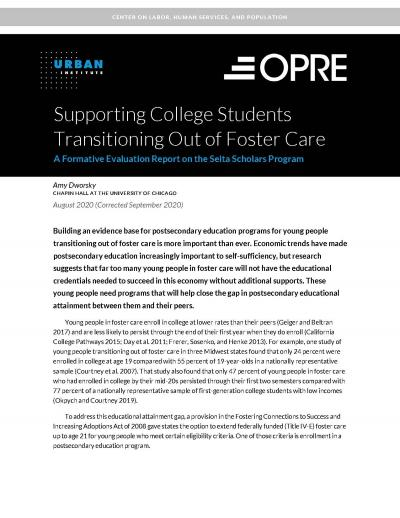"""First page of report, """"Supporting College Students Transitioning Out of Foster Care: A Formative Evaluation Report on the Seita Scholars Program."""""""