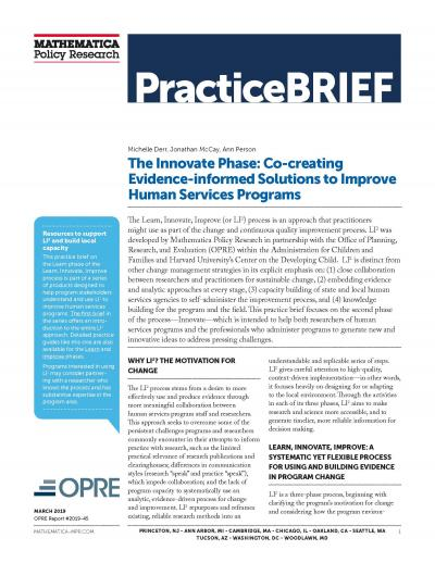 Cover to The Innovate Phase: Co-creating Evidence-informed Solutions to Improve Human Services Programs
