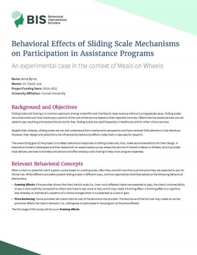 This is the Behavioral Intervention Scholars Cover