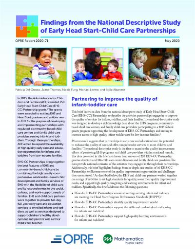 This is the cover of Findings from the National Descriptive Study of Early Head Start-Child Care Partnerships: Partnering to Improve the Quality of Infant-Toddler Care