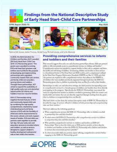 This is the cover of Findings from the National Descriptive Study of Early Head Start-Child Care Partnerships: Providing Comprehensive Services to Infants and Toddlers and Their Families