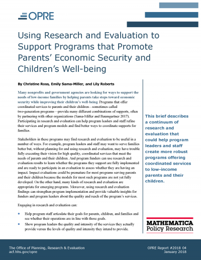Using Research and Evaluation to Support Programs that Promote Parents' Economic Security and Children's Well Being