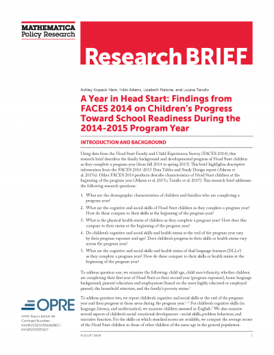 A Year in Head Start: Findings from FACES 2014 on Children's Progress Toward School Readiness During the 2014-2015 Program Year Cover
