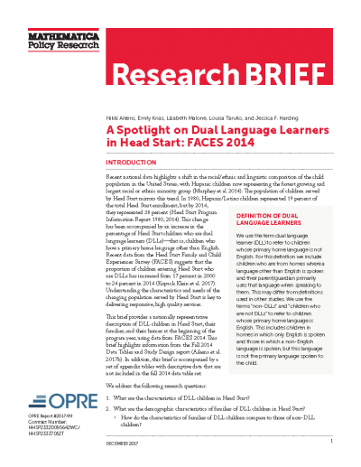 A Spotlight on Dual Language Learners in Head Start: FACES 2014 Cover
