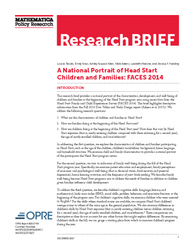 A National Portrait of Head Start Children and Families: FACES 2014 Cover