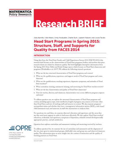 Head Start Programs in Spring 2015: Structure, Staff, and Supports for Quality from FACES 2014 Cover
