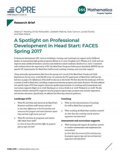 FACES Spring 2017 Spotlight Head Start Brief Cover
