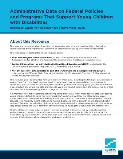Cover Image for Administrative data on federal policies and programs that support young children with disabilities
