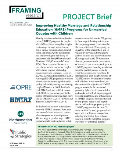 This is the Improving Healthy Marriage and Relationship Education (HMRE) Programs for Unmarried Couples with Children Cover