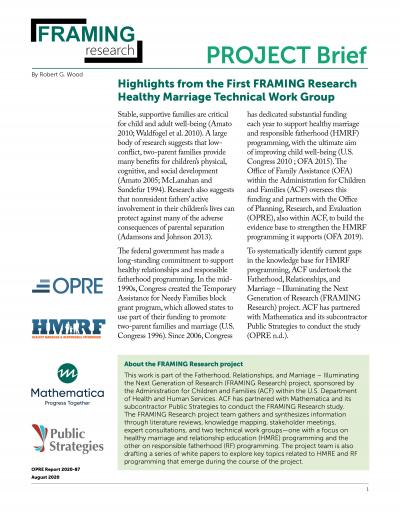 This is the Highlights from the First FRAMING Research Healthy Marriage Technical Work Group Cover