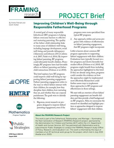 This is the Improving Children's Well-Being through Responsible Fatherhood Programs Cover