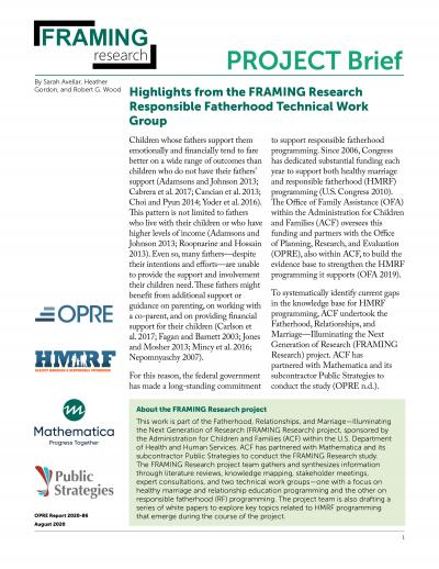 This is the Highlights from the FRAMING Research Responsible Fatherhood Technical Work Group Cover