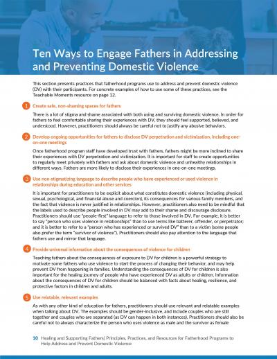 This is the cover of Healing and Supporting Fathers: Principles, Practices, and Resources to Help Address and Prevent Domestic Violence in Fatherhood Programs, Resource 1: Ten Ways to Engage Fathers in Addressing and Preventing Domestic Violence