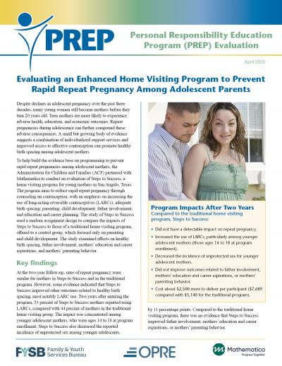 This is the Evaluating an Enhanced Home Visiting Program to Prevent Rapid Repeat Pregnancy Among Adolescent Parents Cover