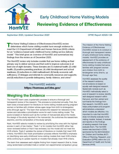Cover image for Home Visiting Evidence of Effectiveness Review: Brief – December 2020
