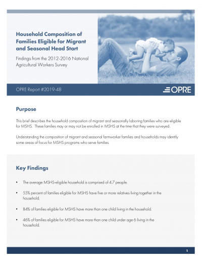 Household Composition, Language, and Literacy of Families Eligible for Migrant and Seasonal Head Start Cover