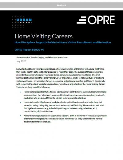 This is the Home Visiting Careers: How Workplace Supports Relate to Home Visitor Recruitment and Retention Cover