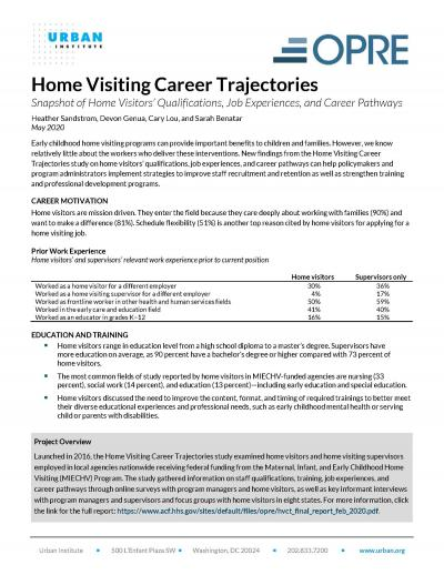 This is the cover of Home Visiting Career Trajectories: Snapshot of Home Visitor's Qualifications, Job Experiences, and Career Pathways