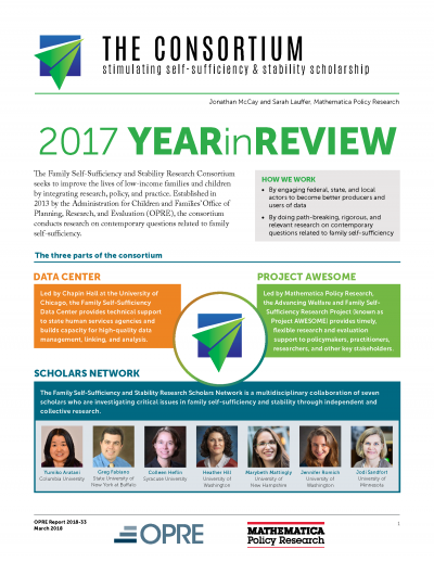 Family Self-Sufficiency and Stability Research Consortium Year in Review - 2017 Cover
