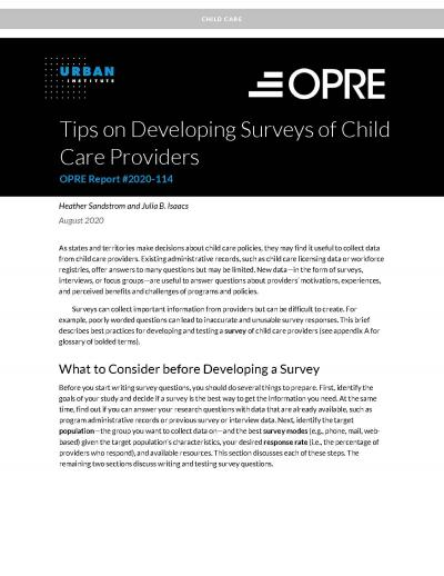 This is the cover of Tips on Developing Surveys of Child Care Providers