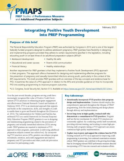 Cover image for Integrating Positive Youth Development into PREP Programming