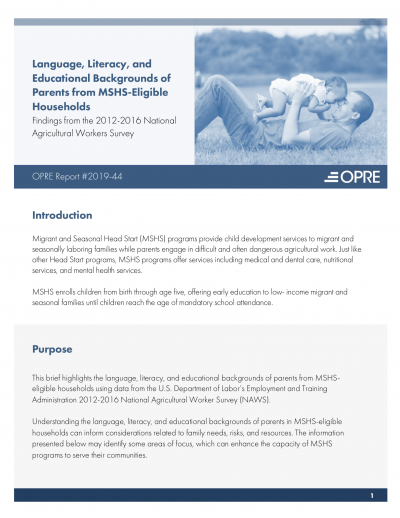 Language, Literacy, and Educational Backgrounds of Parents from MSHS-Eligible Households Cover