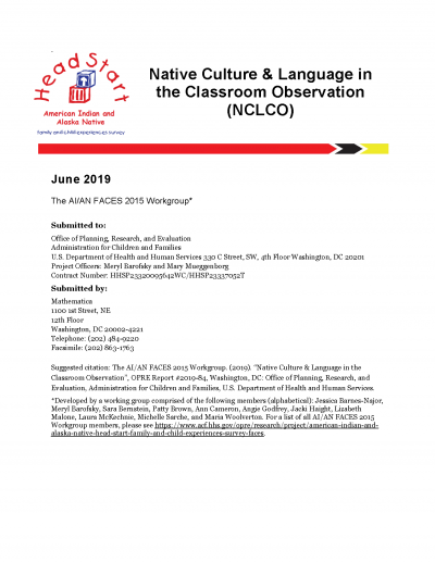 Cover of Native Culture & Language in the Classroom Observation