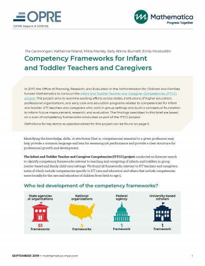 Competency Frameworks for Infant and Toddler Teachers and Caregivers Cover