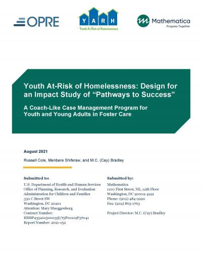 Cover image for Youth At-Risk of Homelessness Impact Study