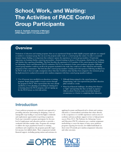 School, Work, and Waiting: The Activities of PACE Control Group Participants