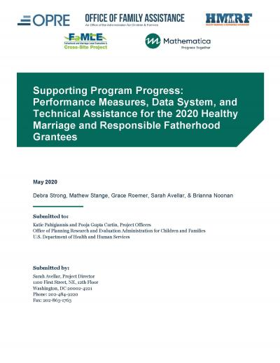 This is the cover of Supporting Program Progress: Performance Measures, Data System, and Technical Assistance for the 2020 Healthy Marriage and Responsible Fatherhood Grantees