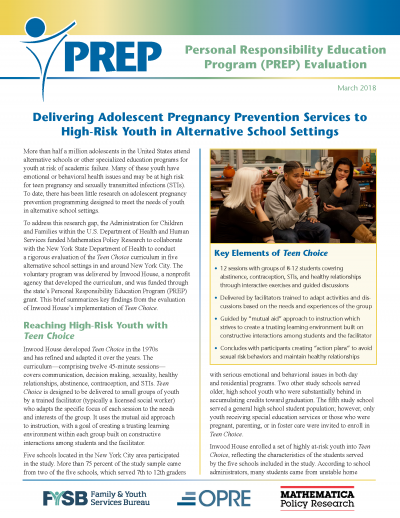 Delivering Adolescent Pregnancy Prevention Services to High-Risk Youth in Alternative School Settings Cover