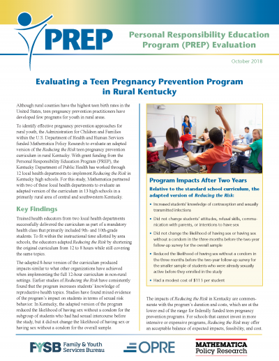 Evaluating a Teen Pregnancy Prevention Program in Rural Kentucky Cover