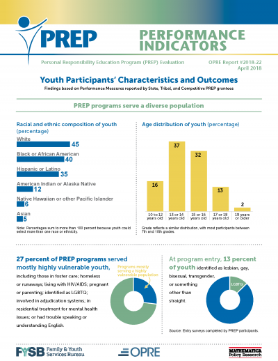 PREP Performance Indicators: Youth Participants' Characteristics and Outcomes Cover