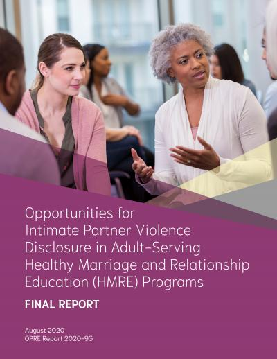 This is the cover of Opportunities for Intimate Partner Violence Disclosure in Adult-Serving Healthy Marriage and Relationship Education (HMRE) Programs