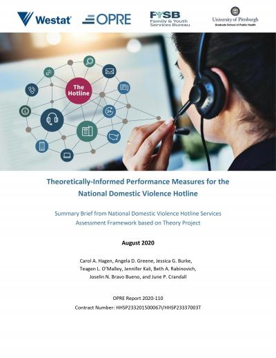 This is the cover of Theoretically-Informed Performance Measures for the National Domestic Violence Hotline: Summary Brief from National Domestic Violence Hotline Services Assessment Framework based on Theory Project