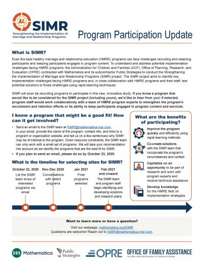 This is the cover of Strengthening the Implementation of Marriage and Relationship Programs (SIMR): Program Participation Update