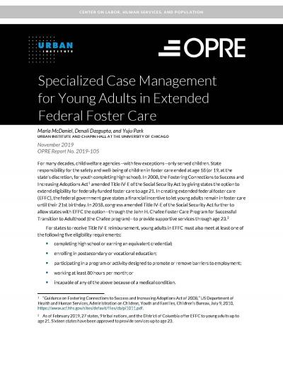 Cover of Specialized Case Management for Young Adults in Extended Federal Foster Care
