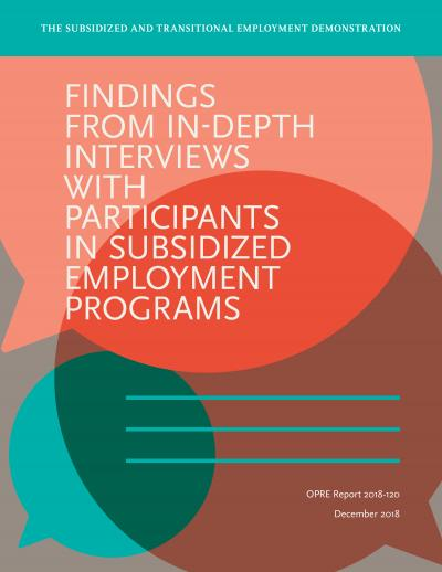 Findings from In-Depth Interviews with Participants in Subsidized Employment Programs Cover