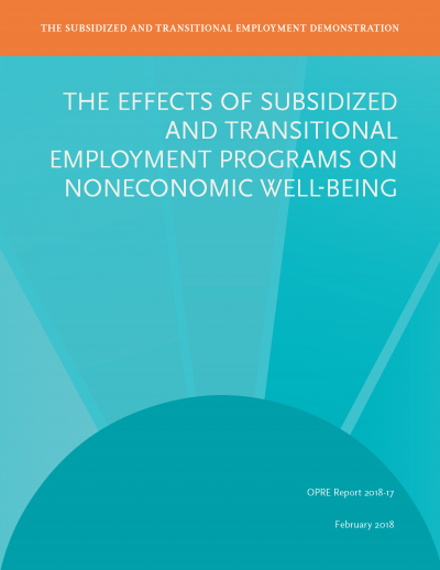 The Effects of Subsidized and Transitional Employment Programs on Non-economic Well-Being Cover